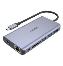 Unitek D1056A Type-C 3.1 HDMI/DP/RJ45/SD/PD100W Hub Space